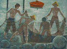 Henrik Finne (1898-1992): Henrik Finnes tresnitt Boats, Painting, Art, Pictures, Art Background, Ships, Painting Art, Kunst, Paintings