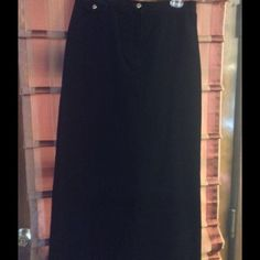 Lauren Jeans Co. Long shade skirt Beautiful, excellent condition long black skirt, comes to the ankles. 98% Cotton, 2% Lycra Spandex. No lining inside skirt. No pockets. Looks like corduroy feels very soft. Has a sexy split in the back. Can wear with boots. Black matches everything!!!! Ralph Lauren Skirts