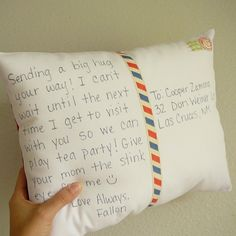 "How sweet would it be to Give a Personalized Postcard Pillow that one can display ~ Its shaped like a postcard with your personal message on the front. Two ""stamps"" cut from fabric are sewn in the right corner with your city, state and or zip... love love love!"