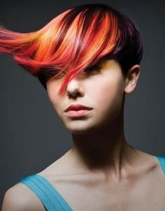 Pixie cut with voluminous and colourful fringe