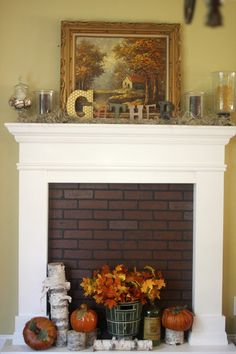 faux fireplace with faux brick with Fall mantel www.goldenboysandme.com
