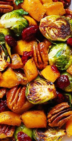 Thanksgiving Side Dish: Roasted Butternut Squash and Brussels sprouts with Pecans and Cranberries