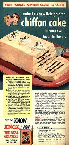 Recipe: Pineapple Chiffon Cake | Date: ??? | Source: Knox Gelatin Advertisement