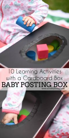10 Learning Activities with a Cardboard Box - from Shape Windows to Sorting Boxes & Puzzles - 10 simple DIY's for Babies, Toddlers & Preschoolers! Joseph Activities, Baby Art Activities, Toddler Learning Activities, Toddler Play, Baby Play, Toddler Preschool, Toddler Stuff, Baby Toys, Activity Box
