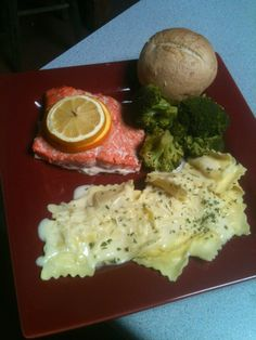 AHL salmon with raviolis in a lemon, butter and white wine sauce.