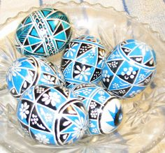 One of my hobbies is making Ukrainian Easter Eggs, known as Pysanky.  I am not Ukrainian but I have enjoyed learning to do this art form.  This is a selection featuring blue and black.