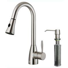 <li>Faucet type: Kitchen </li> <li>Number of handles: Single-handle</li> <li>Faucet finish: Stainless steel </li>