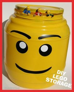 DIY: LEGO storage from a large plastic snack container. See how @obSEUSSed