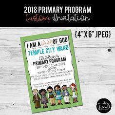 I am a Child of God, Primary Program. Custom Color Invitation from HeyFriendDesignShop on Etsy. Primary Program, Temple City, Little Designs, Programming, Invitation, God, Children, Color, Etsy