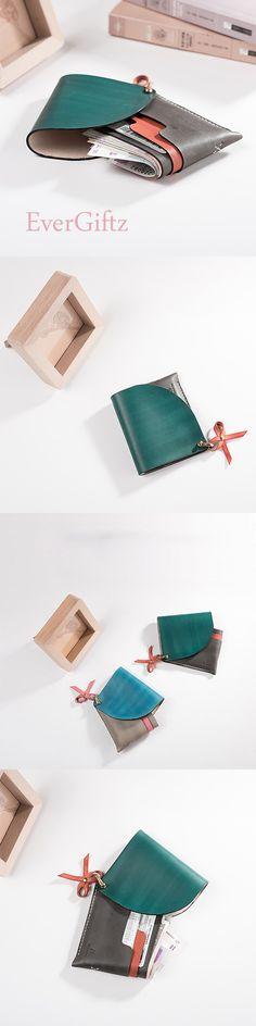 Handmade leather vintage cute women short wallet clutch coin purse wallet