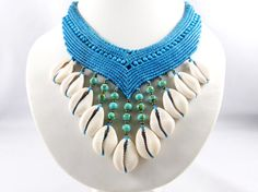 Collier Necklace Cowry Shells Macrame Choker by ValaddaJewelry