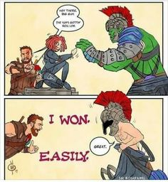 seriously we all know that Thor is a demi god there is no chance of hulk beating him. Marvel Art, Marvel Dc Comics, Marvel Avengers, Memes Marvel, Marvel Funny, Loki Thor, Dc Movies, Marvel Characters, Marvel Cinematic Universe