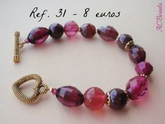 Handmade bracelet featuring VIVACIOUS, Pantone colour for Autumn/Fall 2013, by ACBEADS