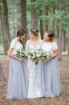 38 Chic And Trendy Bridesmaids' Separates Ideas: blue maxi skirts and short lace sleeve tops for the bridesmaids