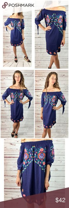 Off Shoulder Boho Embroidered Dress Beautiful boho dress with embroidery in Navy. This dress is so feminine. It comes off the shoulder, sleeves are three quarter with ties, rounded bottom. It is 70% rayon, 30% linen. This dress is for the feminine fairy gypsy in you! Dresses Midi
