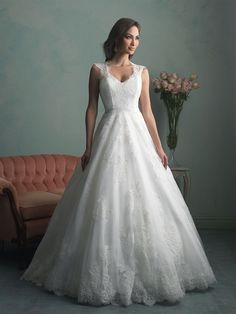 Allure Bridals : Allure Collection : Style 9166 : Available colours : White, Ivory (Satin band accents the waist)
