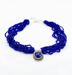 Nepal Design   Royal Blue Pote Bead Necklace - Beaded Necklaces - Beaded - Jewellery
