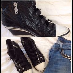 "Ash wedge sneakers  Snakeskin/ leather.   Gently worn.                      2 1/2"" wedge.  W/distressed look. Ash Shoes"