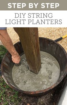 Make these planters to hang string lights in your backyard