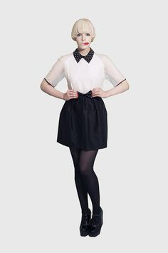 love this black & white dress from Vivetta with angular collar, lace detail sleeves & bow at the waist