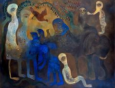 José Manuel Mendive, Cuban artist. Se acerca la noche/ 2007 / Acrilico sobre tela
