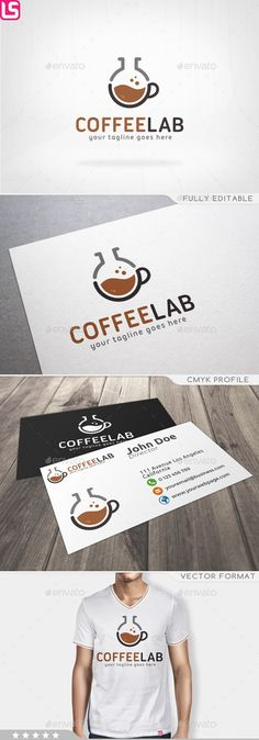 Coffee Lab Logo, bar, black, brand, brown, chemistry, clean, coffee, coffee beans, coffee shop, concept, cup, design, drink, flat, glass, identity, illustrator, lab, laboratory, logo, minimal, modern, new, print, sweet, template, vector, web