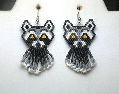Raccoon Beaded Earrings with Fringe