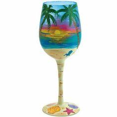 Amazon.com: Santa Barbara Design Studio GLS11-5524X Lolita Love My Wine Hand Painted Glass, Tropical: Kitchen & Dining