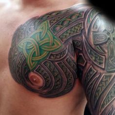 Green Knots Mens Celtic Sleeve And Chest Tattoos