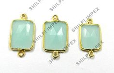925 solid silver 5 PCS LOTS Aqua Chalcedony gemstone charms connector jewellery