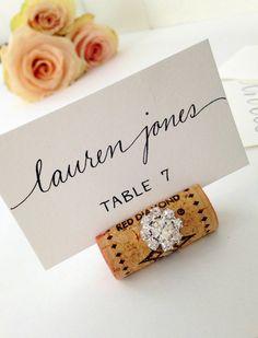 Wine Cork Place Card Holder Wedding Table By KarasVineyardWedding