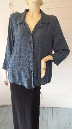 URU Deep Blue Silk Embossed Jacquard Lagenlook Shirt Top Blouse OSFM USA MADE #URU #Blouse #Versatile