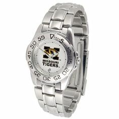 """Missouri Tigers NCAA """"Sport"""" Ladies Watch (Metal Band) by SunTime. $53.10. Scratch Resistant Face. Rotation Bezel/Timer. Calendar Date Function. This handsome, eye-catching watch comes with a stainless steel link bracelet. A date calendar function plus a rotating bezel/timer circles the scratch resistant crystal. Sport the bold, colorful, high quality logo with pride.. Save 10%!"""