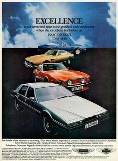 Aston Martin/Lagonda advert, 1979. Best Self Help Books, Bentley Motors, Aston Martin Lagonda, Poster Ads, Car Advertising, Ford Motor Company, Before Us, Car Photos, Art Cars