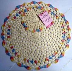Mesa Crochet Cross, Crochet Mandala, Cute Crochet, Knit Crochet, Crochet Placemats, Crochet Potholders, Crochet Squares, Doily Patterns, Crochet Patterns