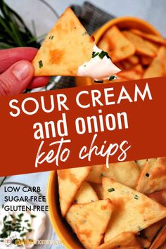 keto snacks Real food sour cream and onion keto chips are gluten-free, low carb, and delicious. Great for a keto appetizer with dip or as a low carb side with soup! Low Carb Keto, Low Carb Recipes, Real Food Recipes, Diet Recipes, Snack Recipes, Chili Recipes, Low Carb Food, Good Keto Snacks, Dessert Recipes
