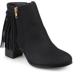Brinley Co. Womens Faux Leather Stacked Heel Fringe Ankle Boots, Women's, Size: 6.5, Black