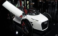 Audi's Urban concept. The two-seater uses a carbon-fibre monocoque and a pair of e-tron electric motors