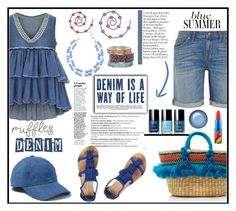 """""""She has the blues"""" by kleinwillwin ❤ liked on Polyvore featuring Madewell, Nannacay, Whiteley, Balmain, Dorothy Perkins, MAC Cosmetics and ruffles"""
