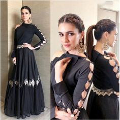 bollywood black embroidered partywear gown wear by kriti sanonFabric : Tapeta silk + Georget gown Length ( semi stich )bollywood black embroidered partywear gown - bollywood black embroidered partywear gown wear by kriti sanonFabric : Tapeta silk Indian Designer Outfits, Designer Gowns, Indian Attire, Indian Outfits, Salwar Kameez, Churidar, Patiala, Sleeves Designs For Dresses, Indian Gowns Dresses