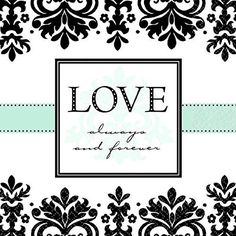 "Love Always and Forever Wedding Party Damask Printed Luncheon Napkins Tableware, Paper, 6"" x 6"", Pack of 16"