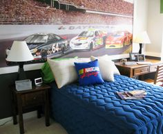 Nascar Bedroom Furniture Nascar Painted Bedroom Wall  Ideas For Will's Room  Pinterest .