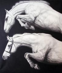Two Leaping Horses by Joseph Piccillo, Large Graphite Drawing on Canvas