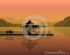 Landscape - silhouette of a man on a bench, and house on the background of the mountains, the sky with reflection in water. vector