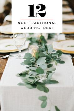 great 12 non-traditional wedding ideas that will make your … – ideas # your # non-traditional – Dekoration Hochzeit - Wedding Table Wedding Table Centerpieces, Flower Centerpieces, Wedding Decorations, Centerpiece Ideas, Eucalyptus Centerpiece, Eucalyptus Garland, Picnic Table Wedding, Simple Wedding Table Decorations, Wedding Table Garland