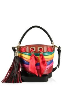 SALVATORE FERRAGAMO By Sara Battaglia Multicolor Stripe Leather Bucket Bag. #salvatoreferragamo #bags #shoulder bags #hand bags #leather #bucket #