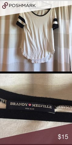 Brandy Melville - black & white baseball tee Brandy Melville - black & white baseball tee - just don't like the fit Brandy Melville Tops Tees - Short Sleeve