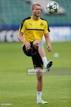 Andre Schurrle Borussia Dortmund official training before UEFA Champions League against Legia Warsaw at Wojska Polskiego Stadium on September 13 2016...