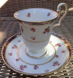Antique George Jones Crescent Pink Roses Cobalt Tall Footed Teacup & 2 Saucers