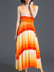Elastic Waist Swing Striped Round Neck Maxi Dress